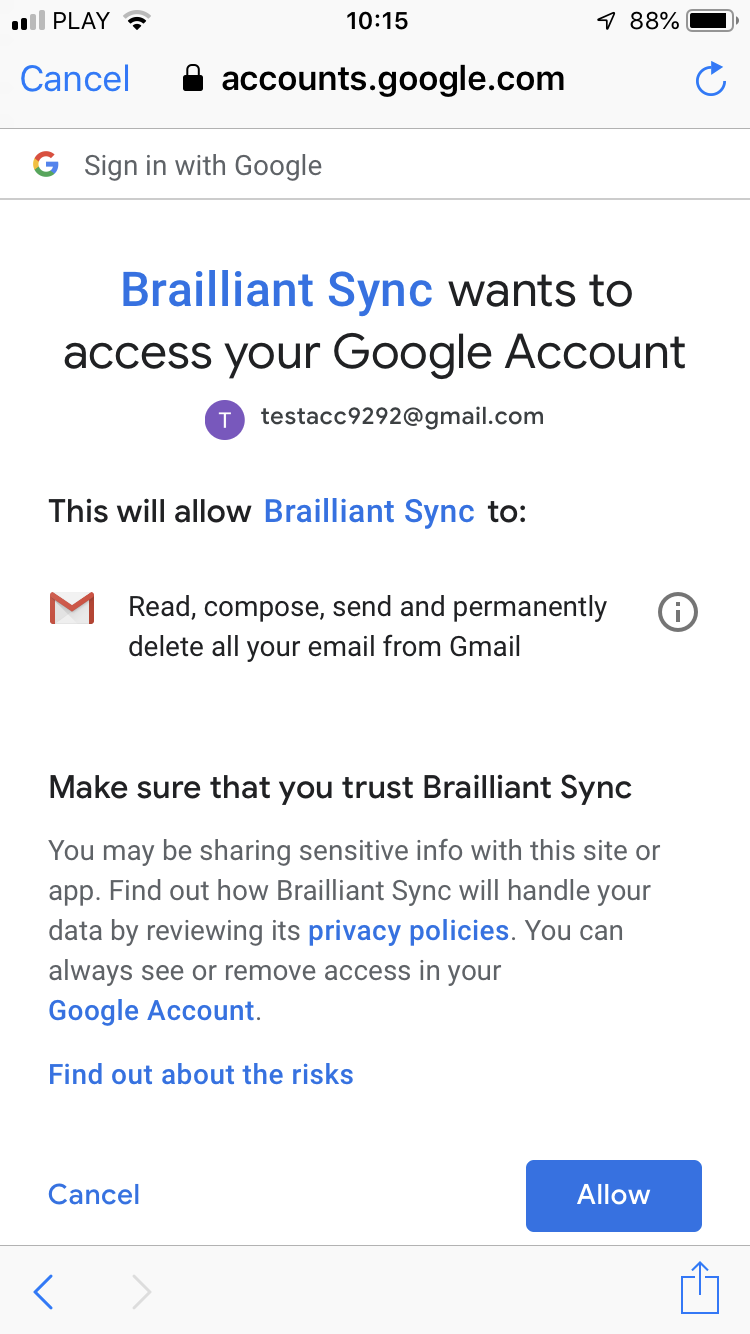 BrailliantSync OAuth consent screen shows the information that you are presented during the authorisation process